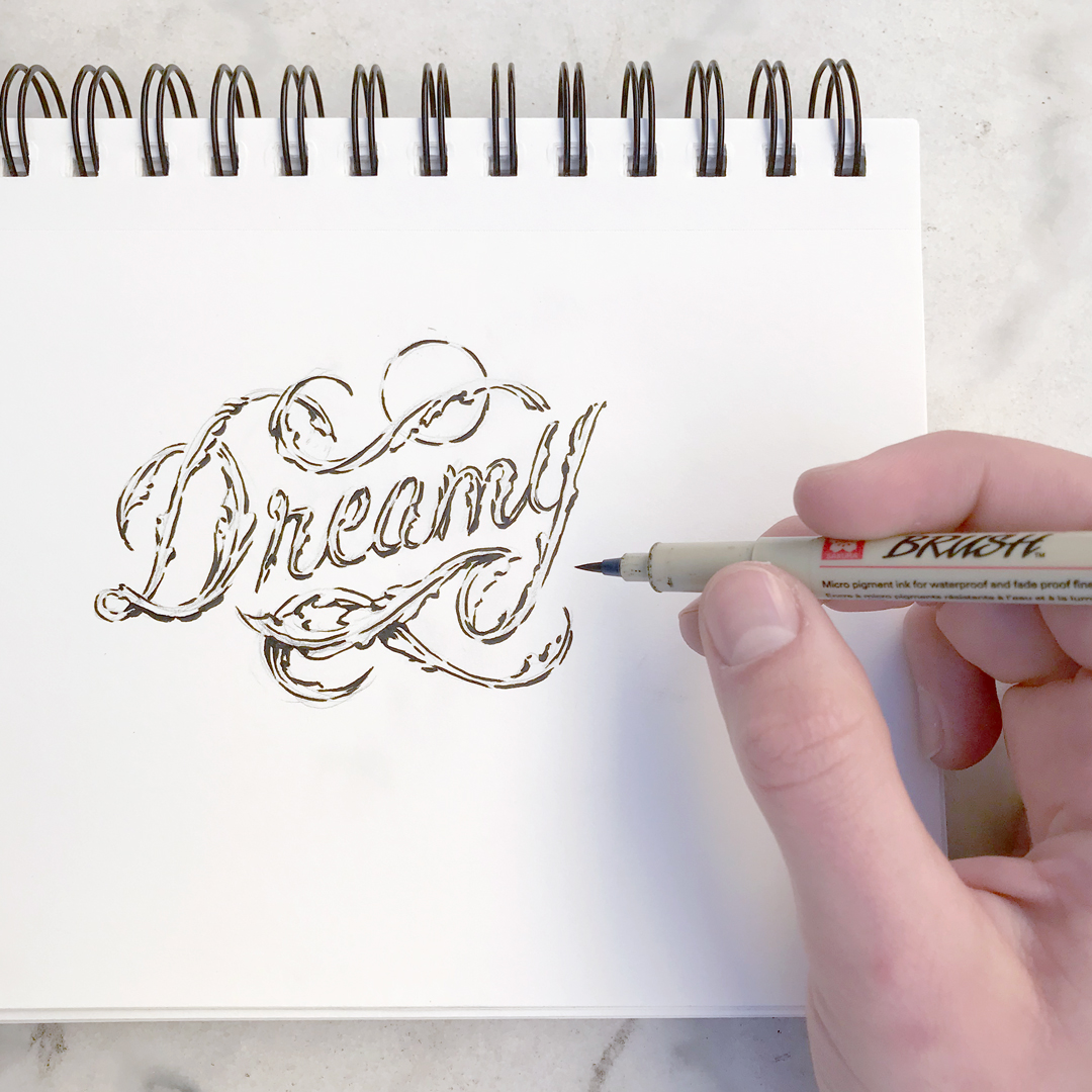 "Hand-lettering for the word ""dreamy."""