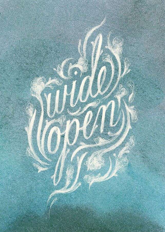 """Wide Open,"" colored illustrated lettering by Laura Dreyer. Lyrics by Sara Groves."