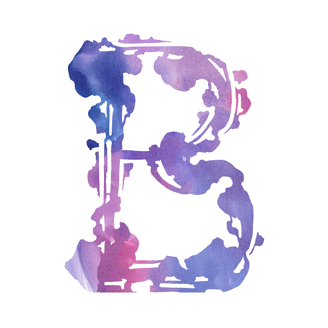 Painted letter B, illustrated in pencil by Laura Dreyer.