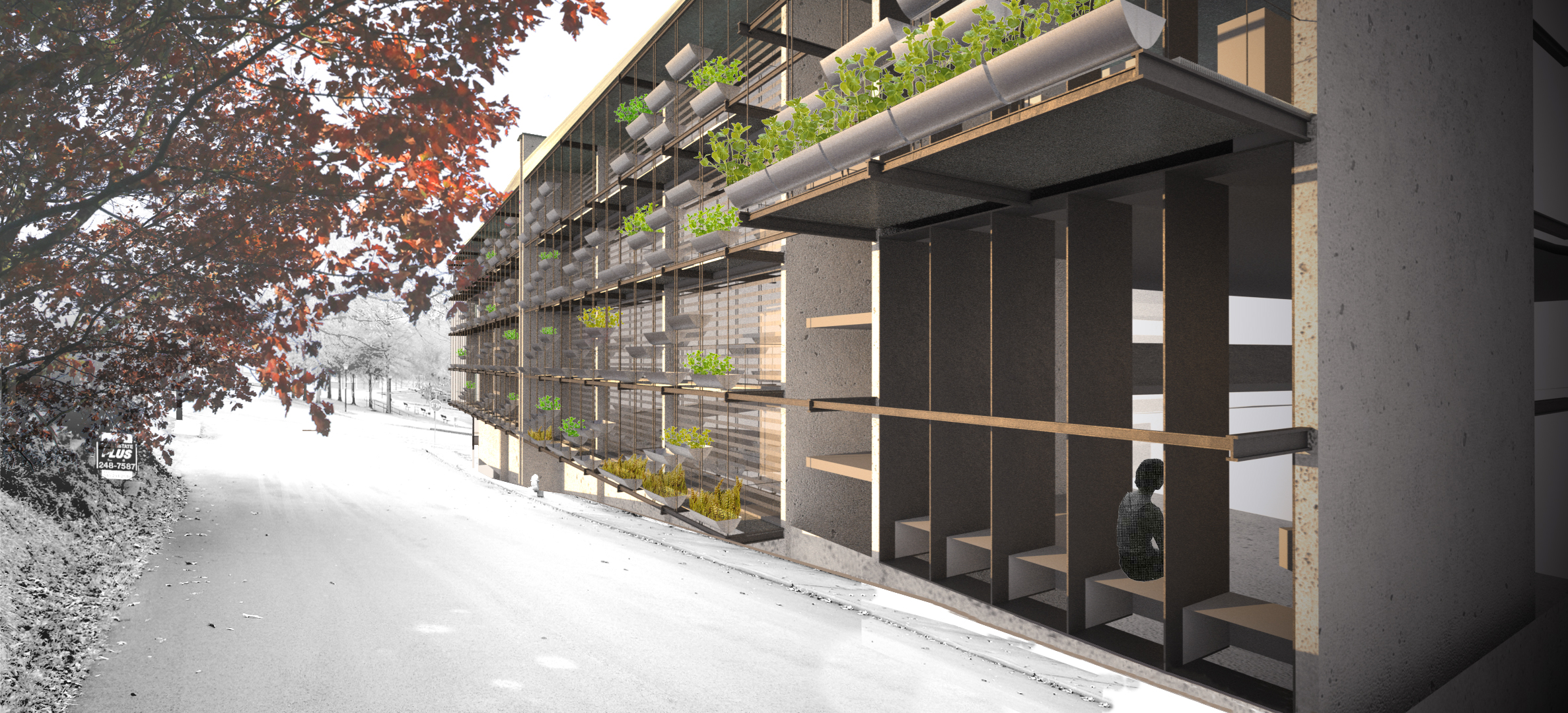 Community Focused Multifamily Housing. A productive louvered facade filters sunlight and produces food for residents.