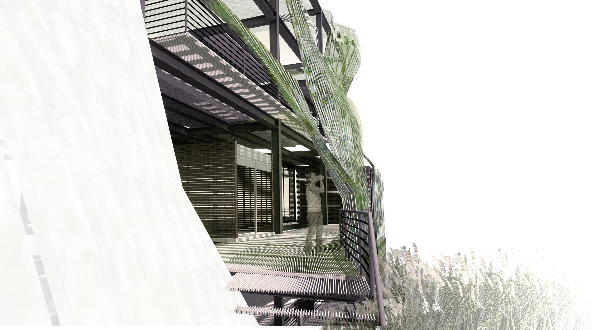 Conceptual Open-Air Office Building in South San Francisco, CA. Vertical Farming of Algae Superfood.