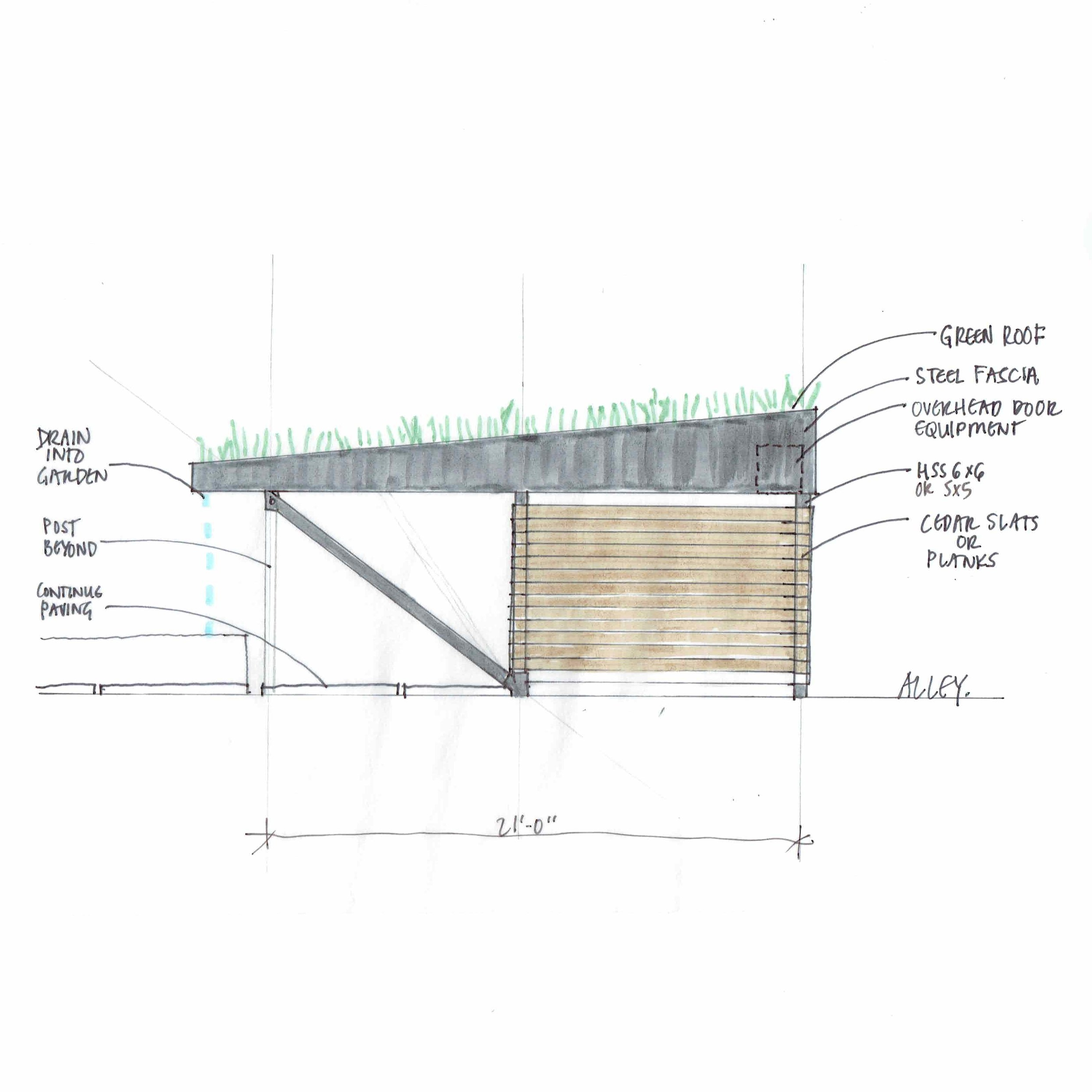 Midtown, Sacramento // ON OUR DESKS  New Construction. Steel cantilever supports a green roof over residential parking spaces.