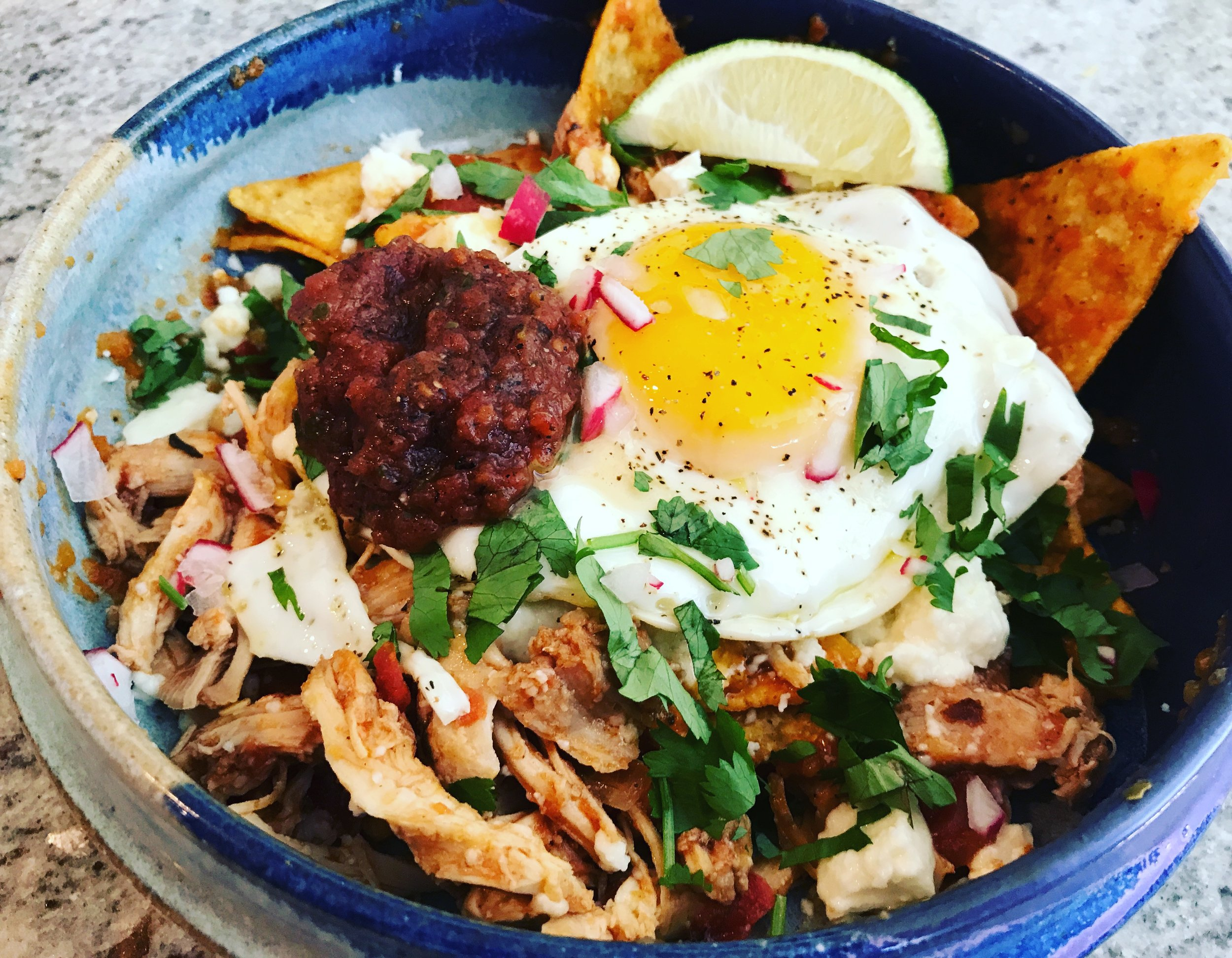 Chilaquiles - https://www.bonappetit.com/recipe/chilaquiles-with-fried-eggs