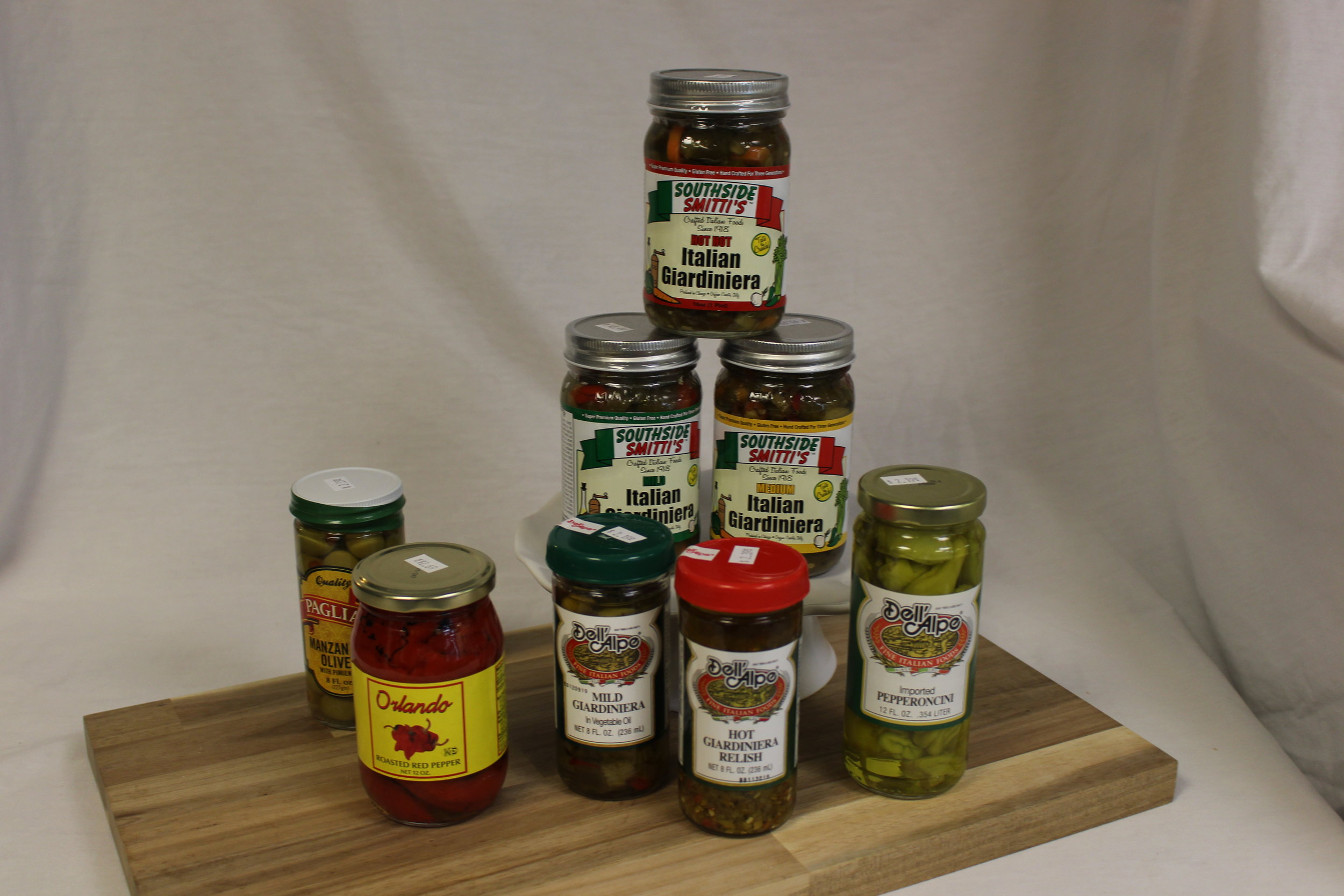 Peppers, Olives, Giardiniera -