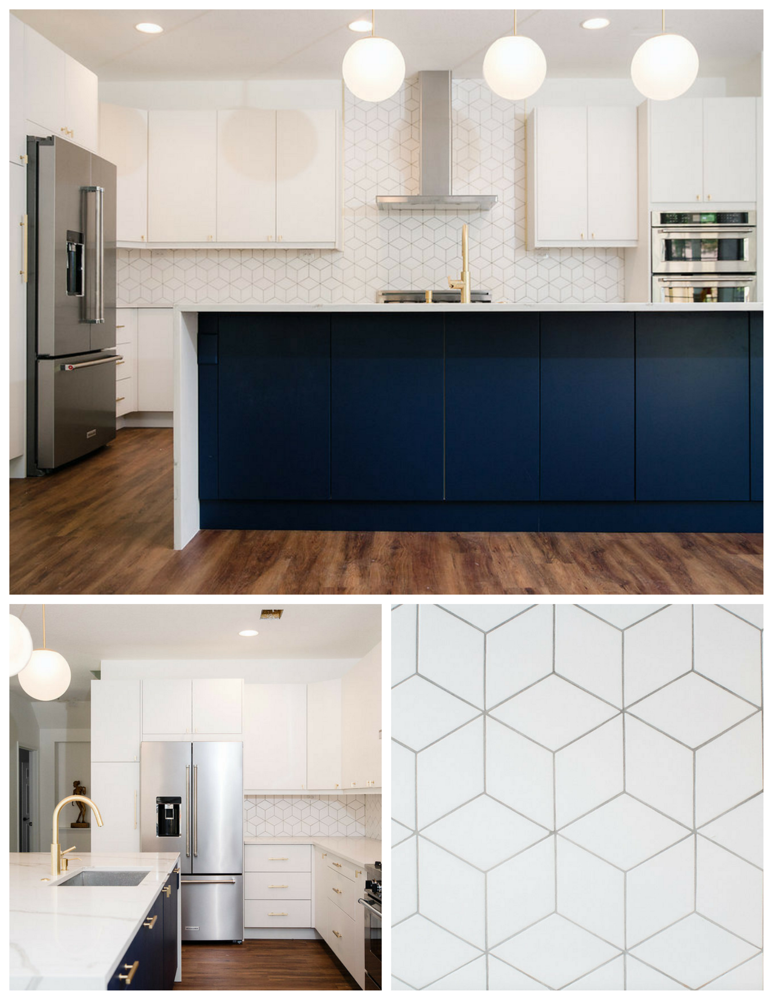In addition to the waterfall countertop and blue and white cabinetry, this kitchen features Newport Brass fixtures, stainless steel appliances,and diamond-shaped, fire clay tiles installed to create a cube patterned backsplash.