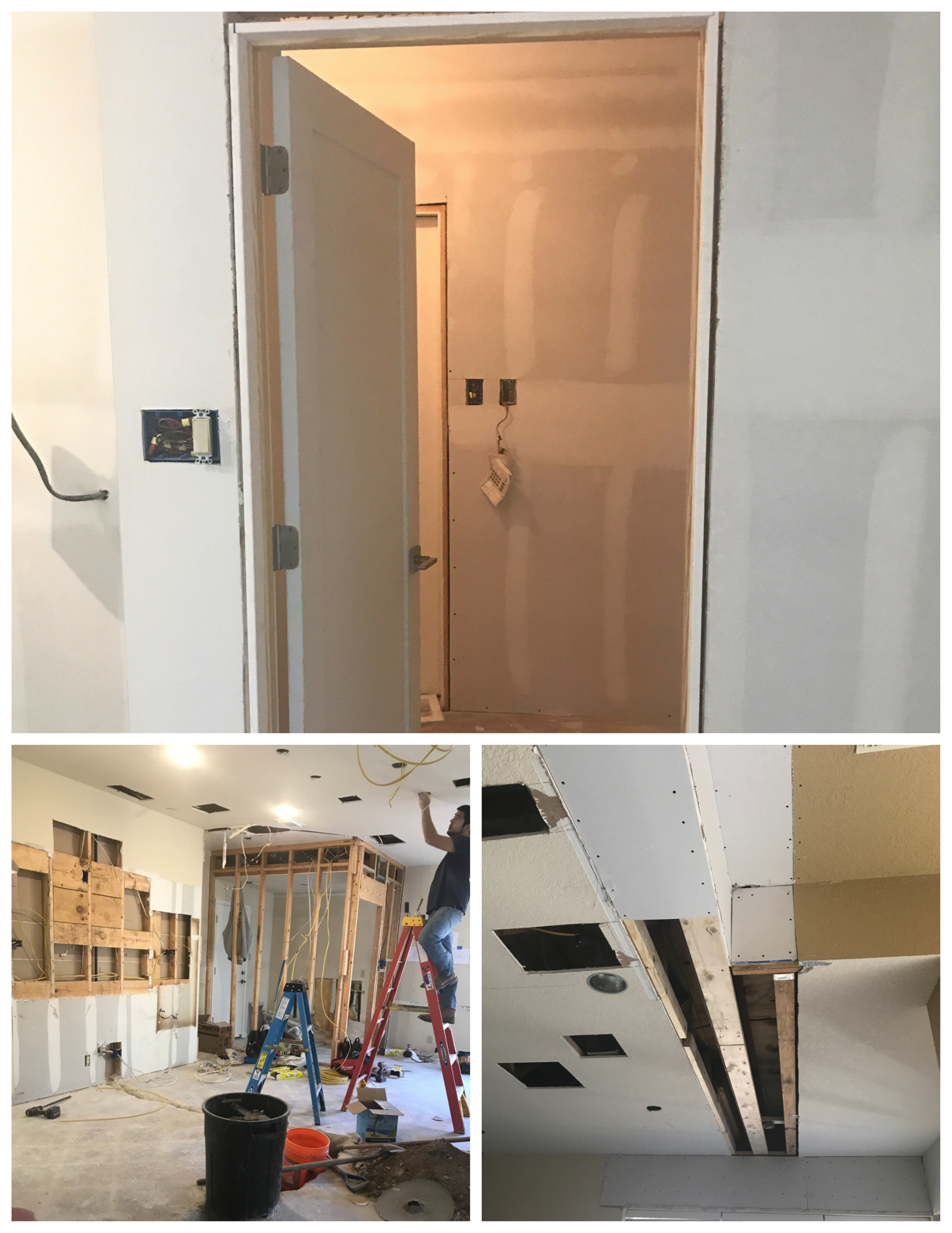 (above) extending the laundry room into the garage; (LEft) installing the electrical; (right)dry wall going back up over the beam installed in the kitchen.
