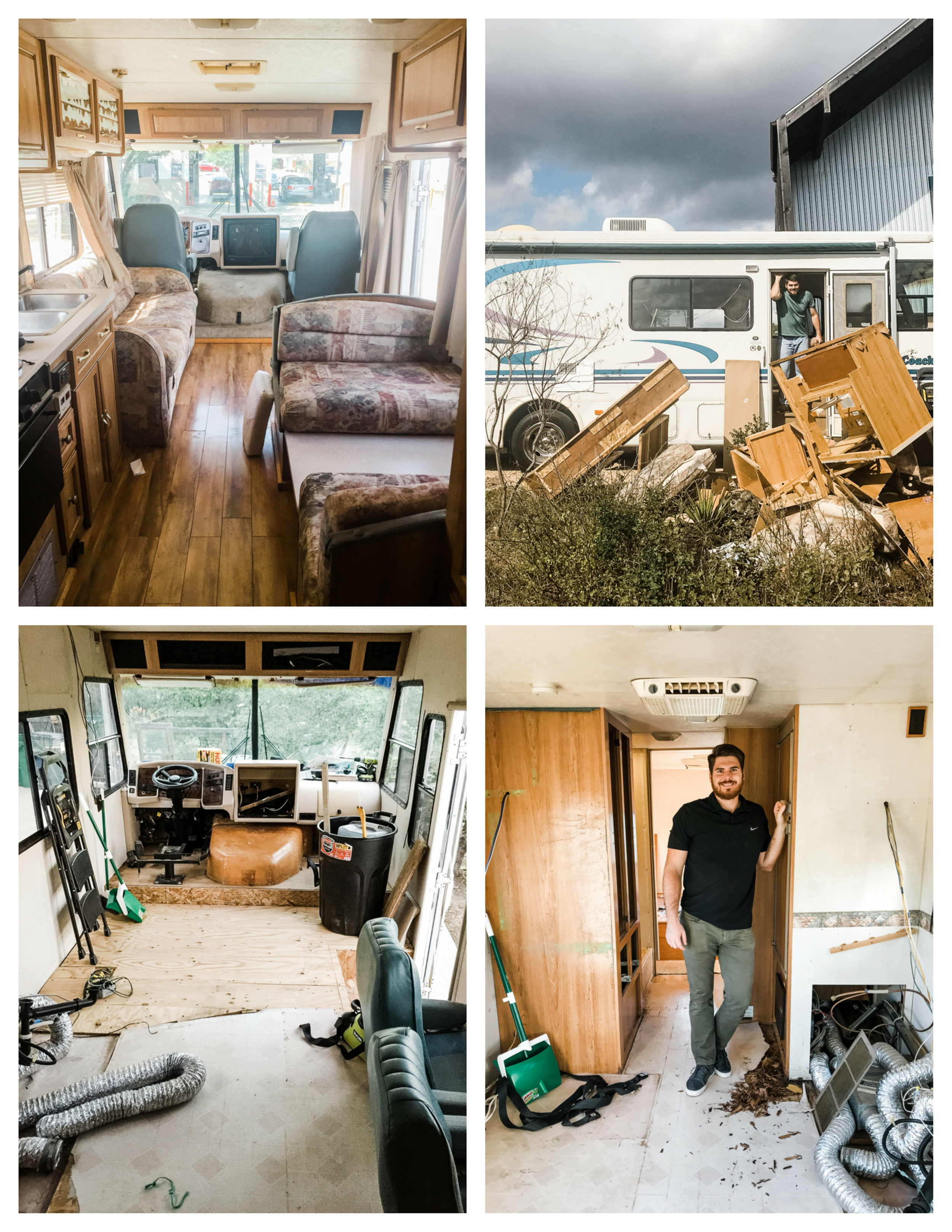 From L to R clockwise: The original interior of Birdie; Demo Day; completely gutted; Sean pleased with a long day of hard work