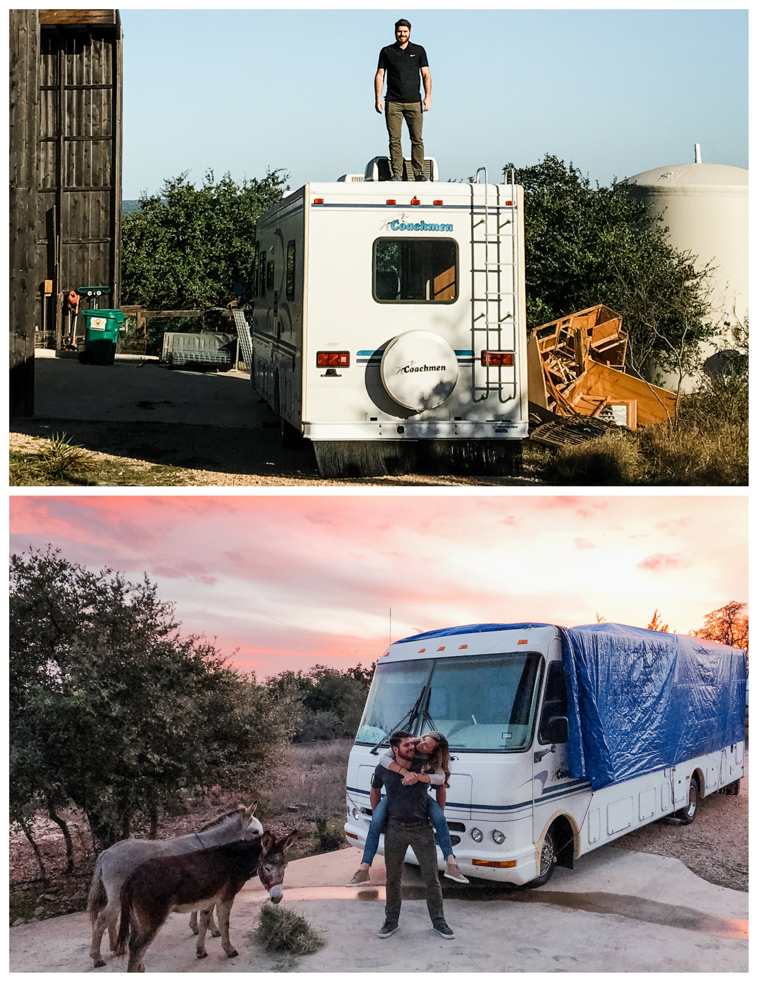Top: A man and his machine! Bottom: Weekend renovation fun!