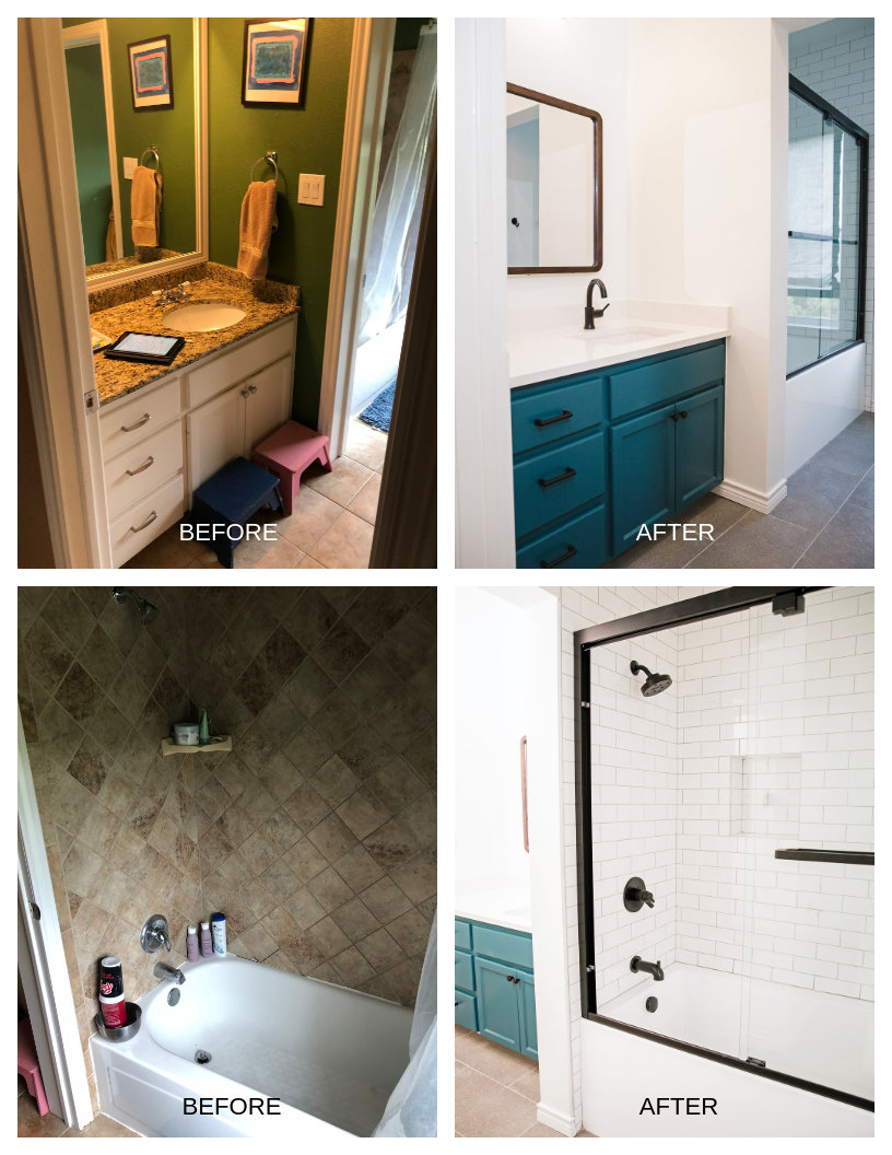 In this Kids' Bathroom, the homeowner wanted to keep the existing vanity but update the countertop. the bold blue paint added to the vanity updated its appearance. This rest of the bathroom was completely gutted and renovated with a new mirror, tub, TIle, fixtures, paint, and tile flooring.