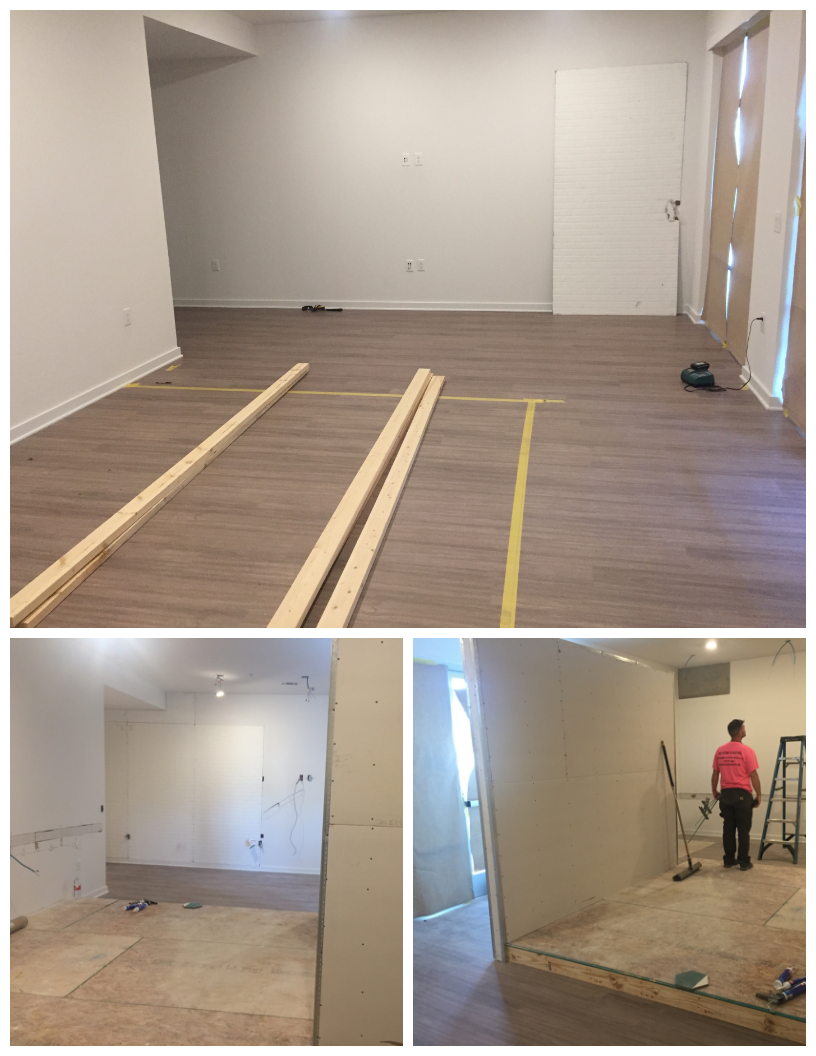 Laying out the design of the raised floor space and constructing the walls in our new office space.