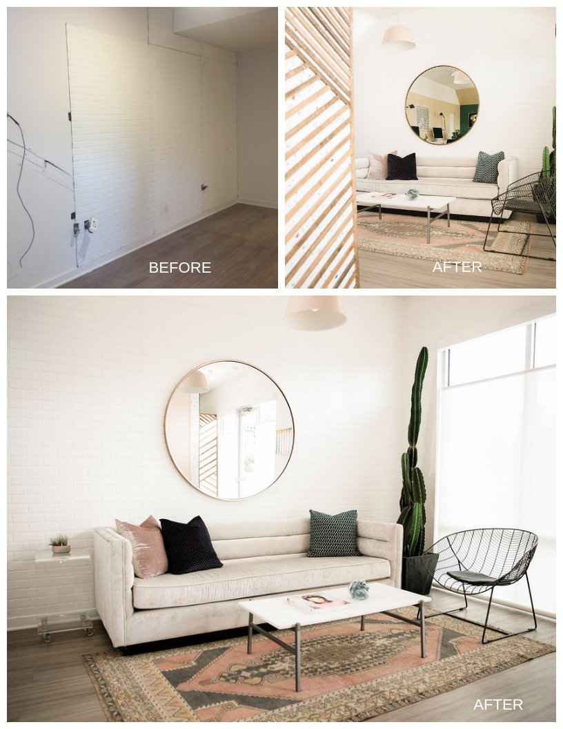 To create architectural interest in other places, we used a faux white brick wall panel in our lounge area (above) and created a wood design on top of wallpaper in our entryway (below).
