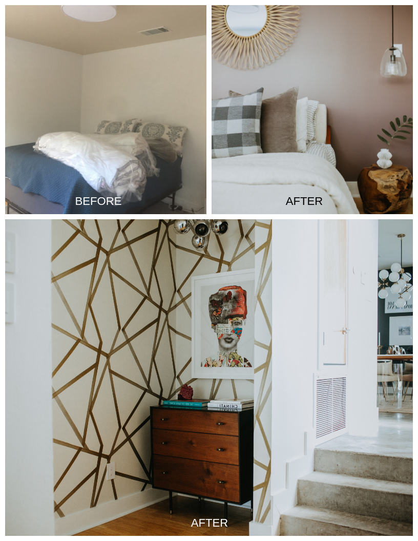 A fresh coat of paint, geometrically patterned wallpaper and new lighting transform the new guest bedroom (above) and corner spaces (below).