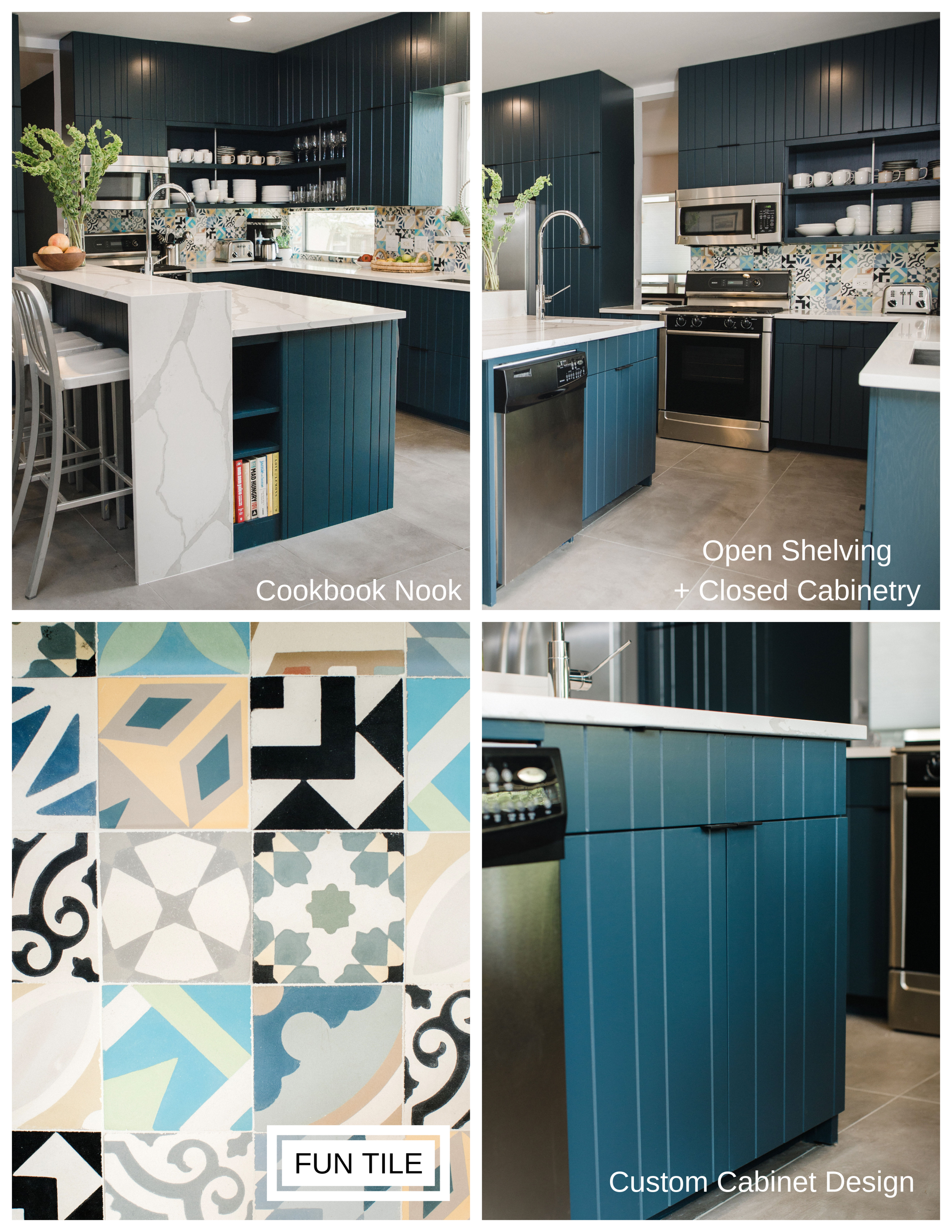 Signs you may be standing in a custom kitchen, top from L to R and clockwise: fun, built-in storage, a combination of storage options: open shelving and closed cabinetry, custom tile patterns and designs, and custom cabinet design!