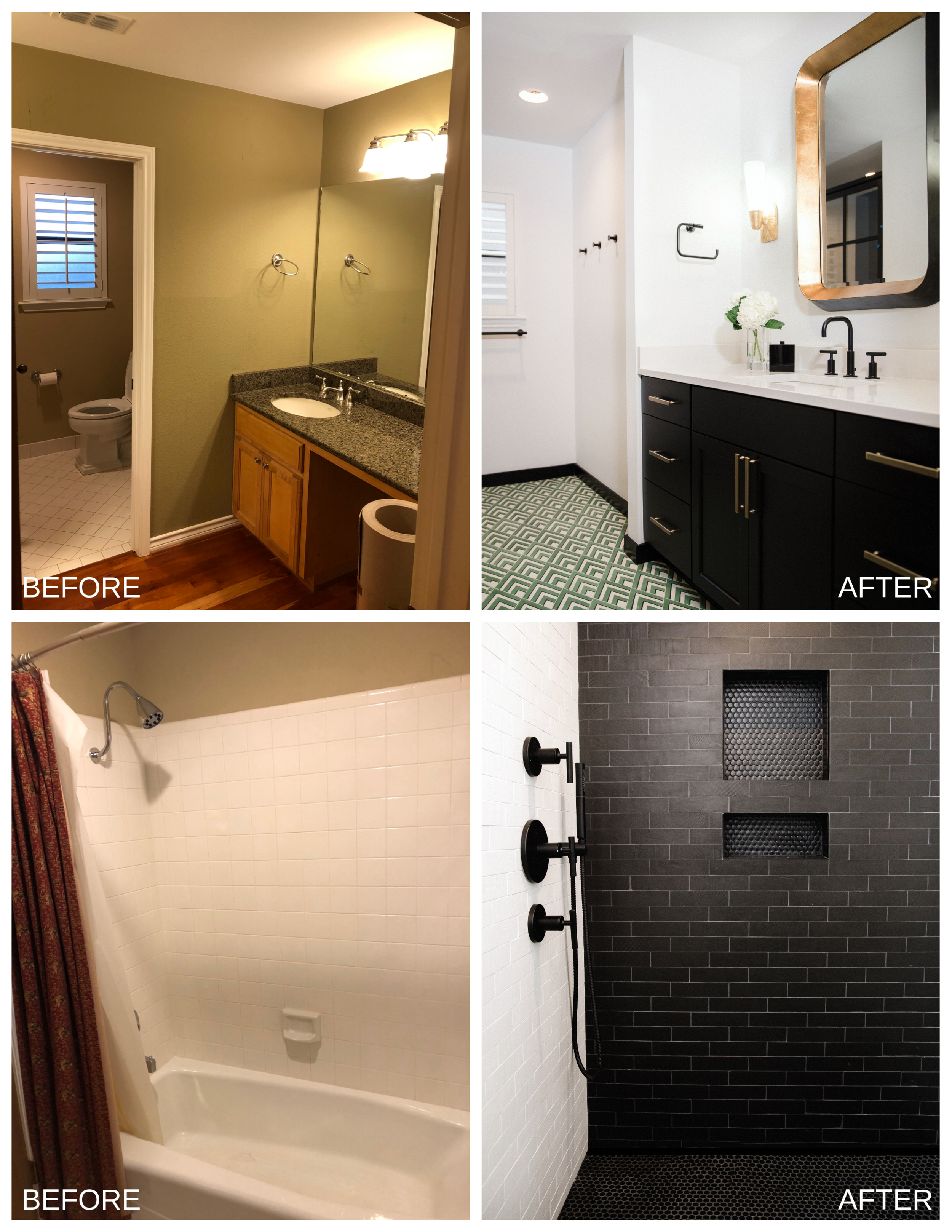 TOP ROW B & A: The current vanity plumbing was moved to accommodate the new sink and faucet location. Afterward, the new sink and faucet were installed. BOTTOM ROW B & A: We then moved the shower plumbing to the new wall and began the installation for the shower fixture and trim pieces. A new shower pan with curb was built into place. Fabrication and installation of hardiboard and waterproofing were set for tiling. Framing with schulter edging was done for the shower niche. New tiling was also laid for the shower floor and shower walls up to the ceiling.