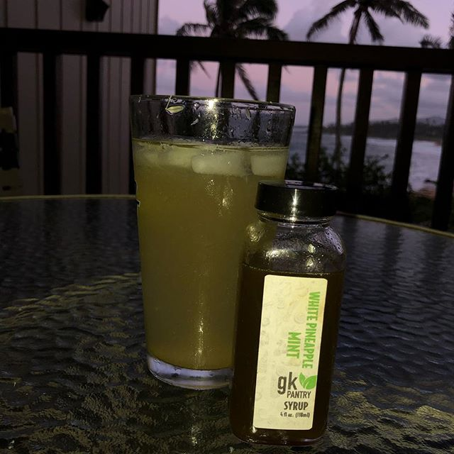 Enjoying the in-laws condo and @gkpantry syrups in my pau hana cocktail!  Thanks Gida! You da best!  #cocktails #locallygrown #eatlocal #drinklocal #knowyourchef #knowyourfarmer #luckywelivekauai #sunset