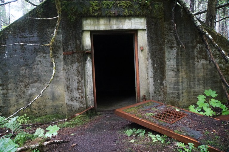 One of the WWII bunkers to explore on our Caines Head hiking trail