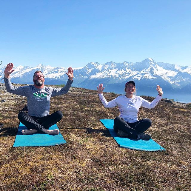 Enjoying some heli yoga hikes with this lovely couple! Thanks for the smiles guys!!