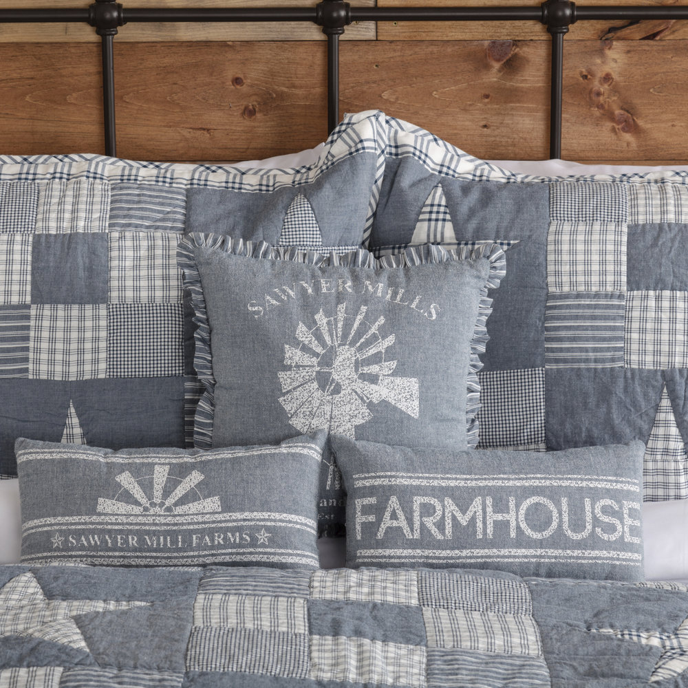 Vhc Brands Denim Blue Ninepatch Star King Quilt Set 105 X 95 W 2 Shams Quilts Pine Valley Quilts