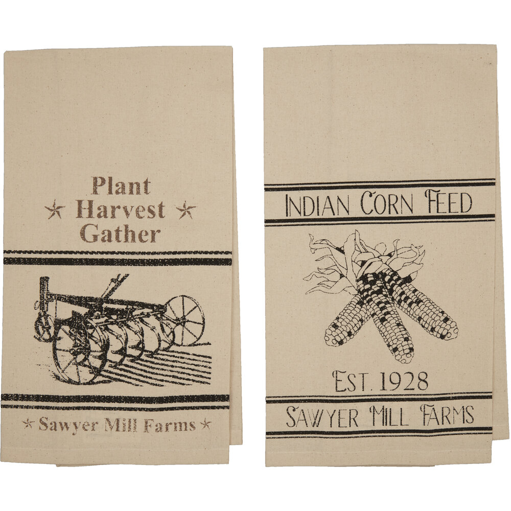 Sawyer Mill Charcoal Plow Corn Muslin Unbleached Natural Tea Towel Set Of 2 19x28 Misc Decor Pine Valley Quilts