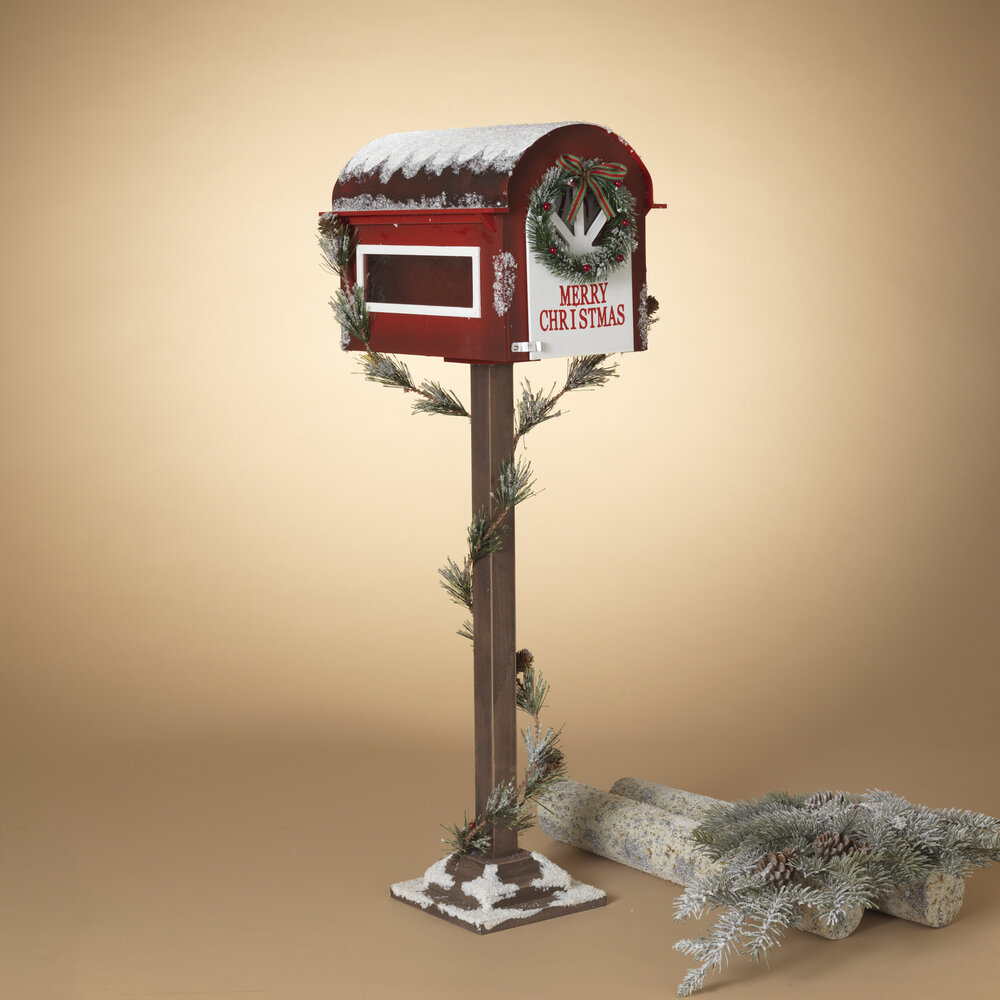 35 Inch Tall Wooden Holiday Mailbox With Pine Garland For Santa Gerson Christmas Pine Valley Quilts