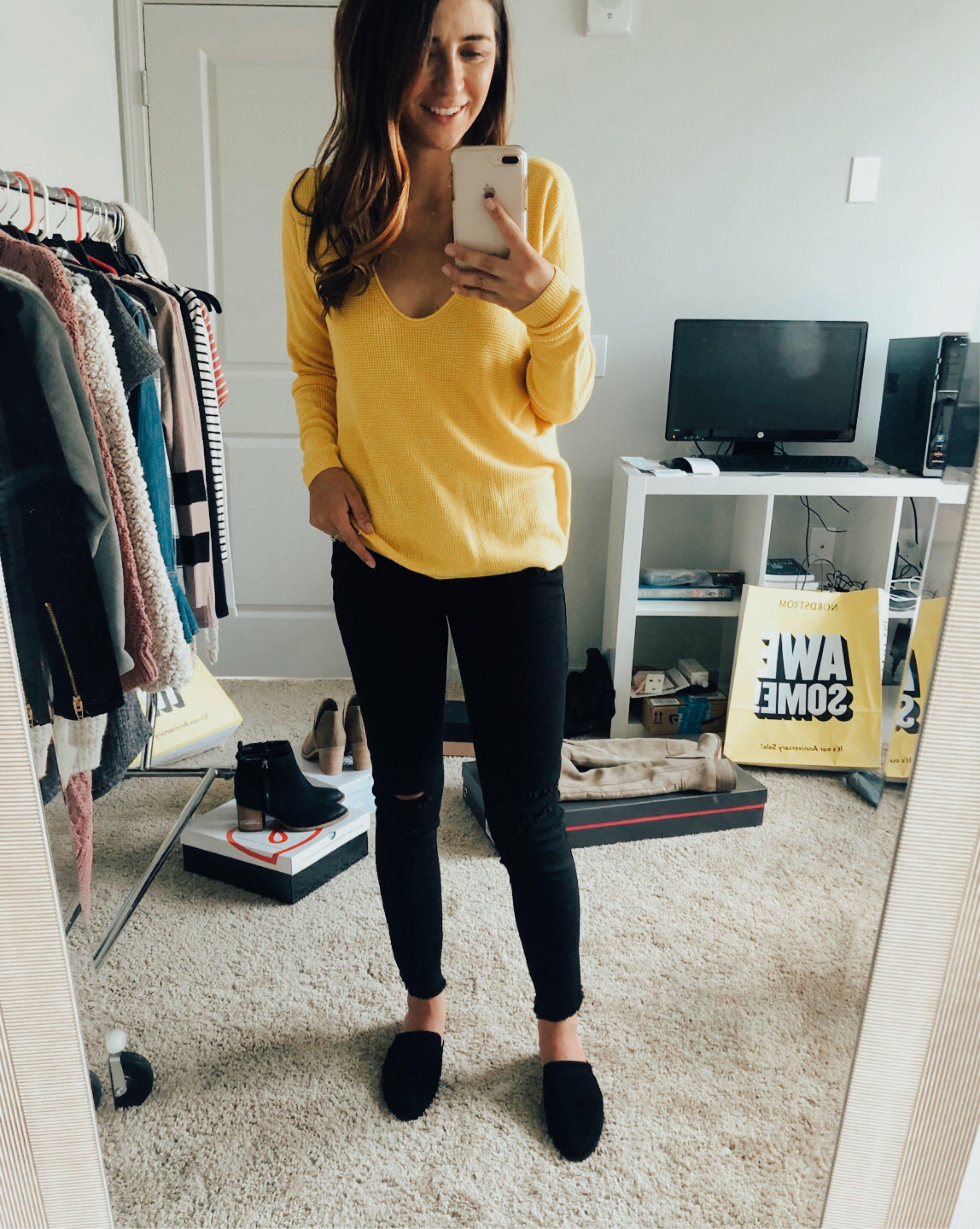 BP Yellow Sweater  //  STS Blue black denim  //  Halogen Mules