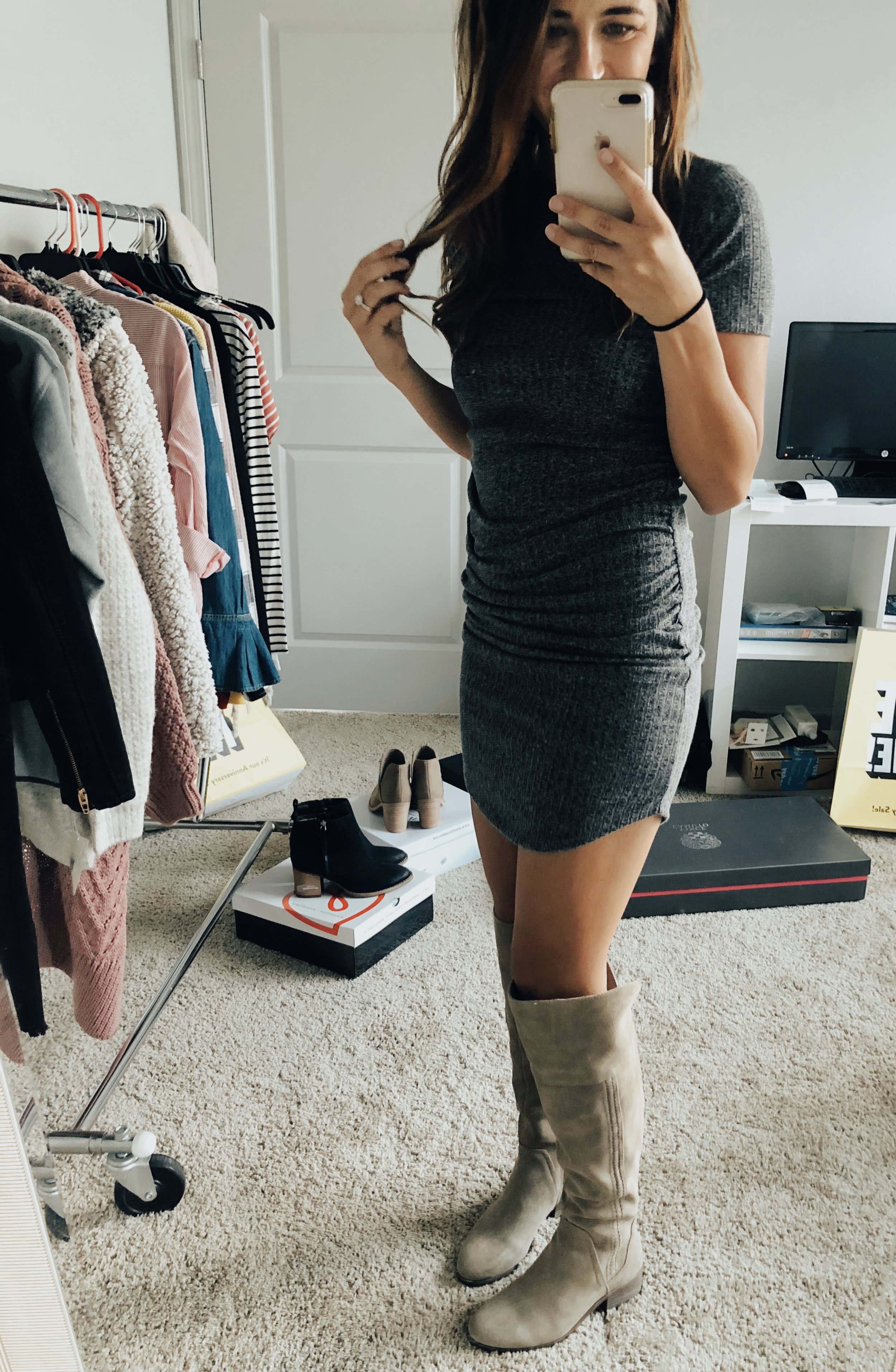 BP Ribbed Body-Con Dress  //  Vince Camuto Boots