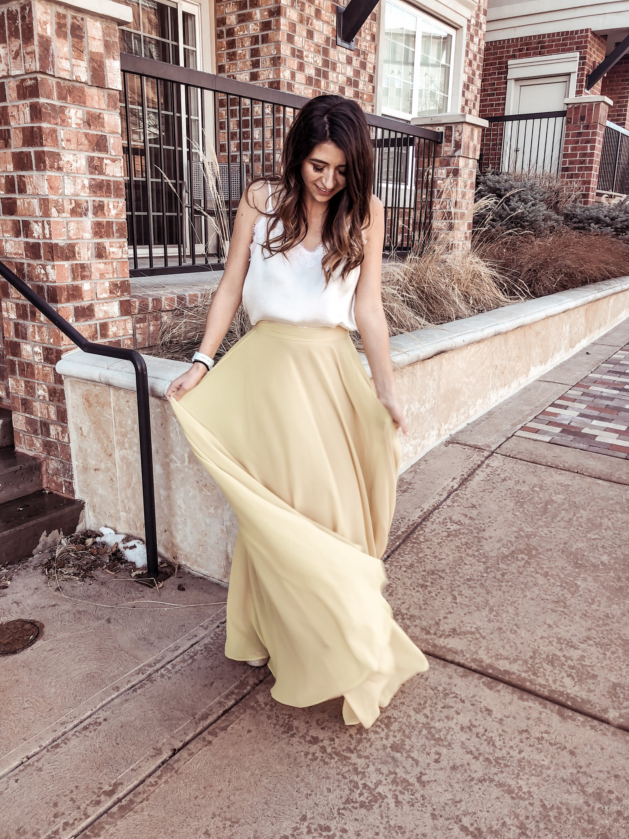 Yellow Maxi Skirt for Spring