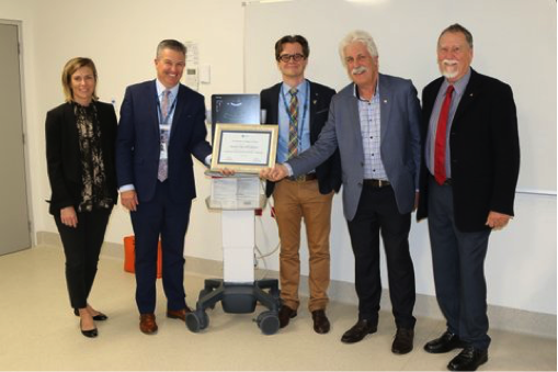 Rotary Club of Frankston presents the ultrasound machine to Frankston Hospital. Pictured here on the right are Dr Jolyon Ford, Rotarian Kevin Wallis, Rotarian Terry Schneider.