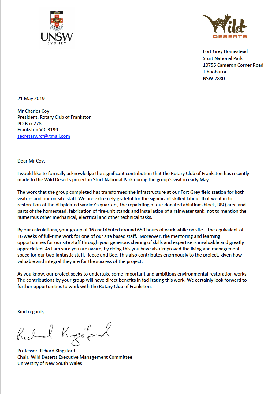 Wild Deserts Rotary Club of Frankston Thank you Letter May 2019.png