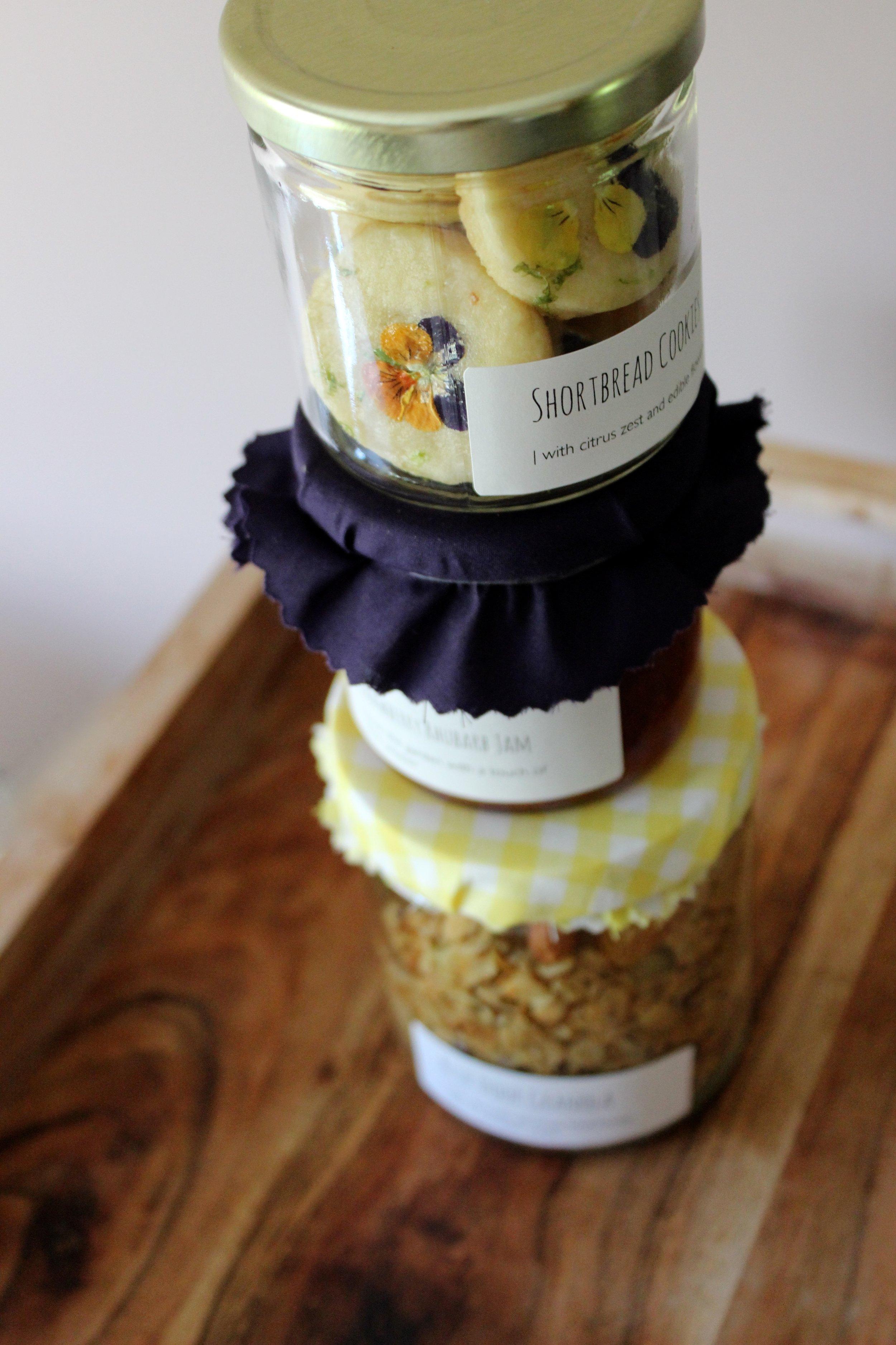 shortbread, jam + seasonal granola