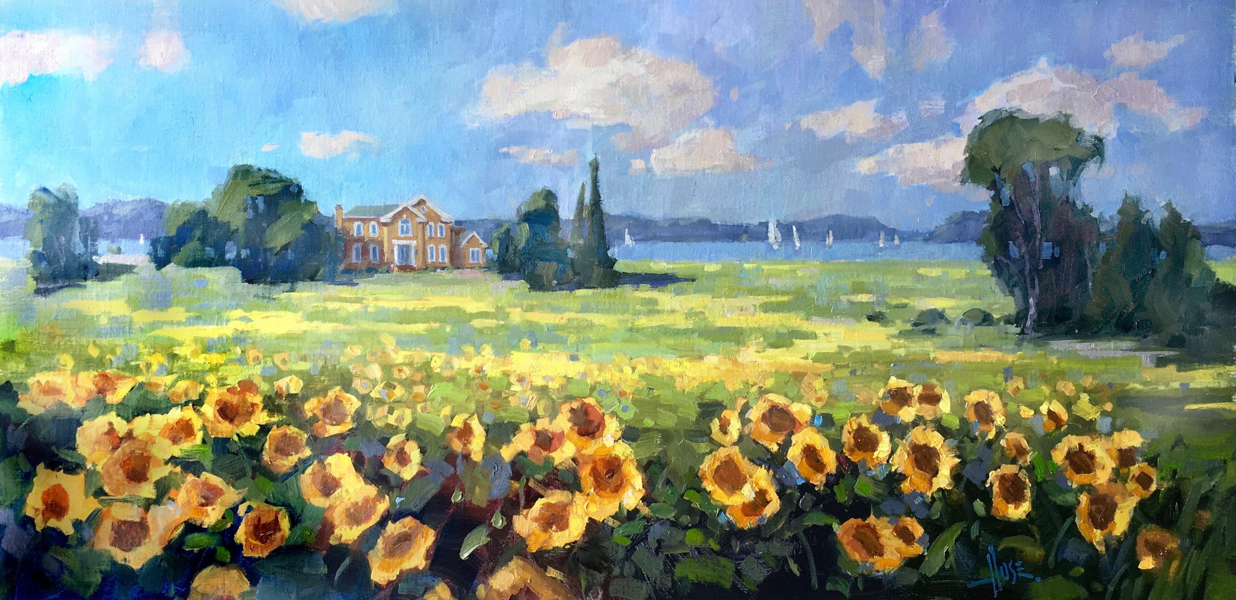 "Detail of ""Summer Sunflowers"", 18x34"