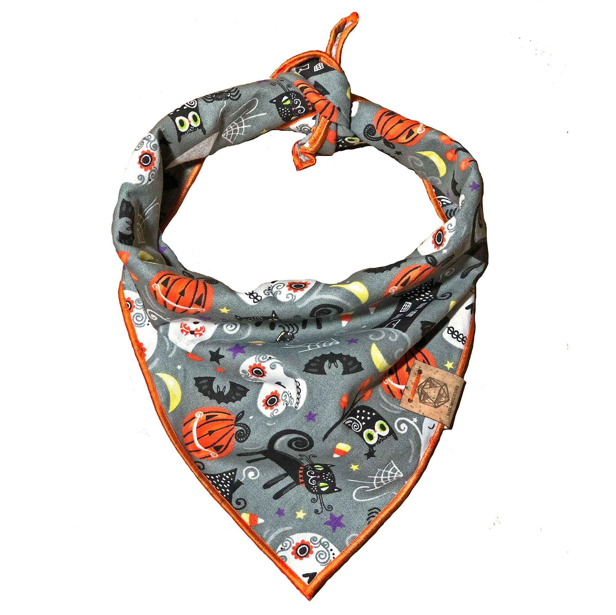 multi-colored-halloween-dog-bandana-with-ornage-pumpkins-skulls-bats-cats-and-more