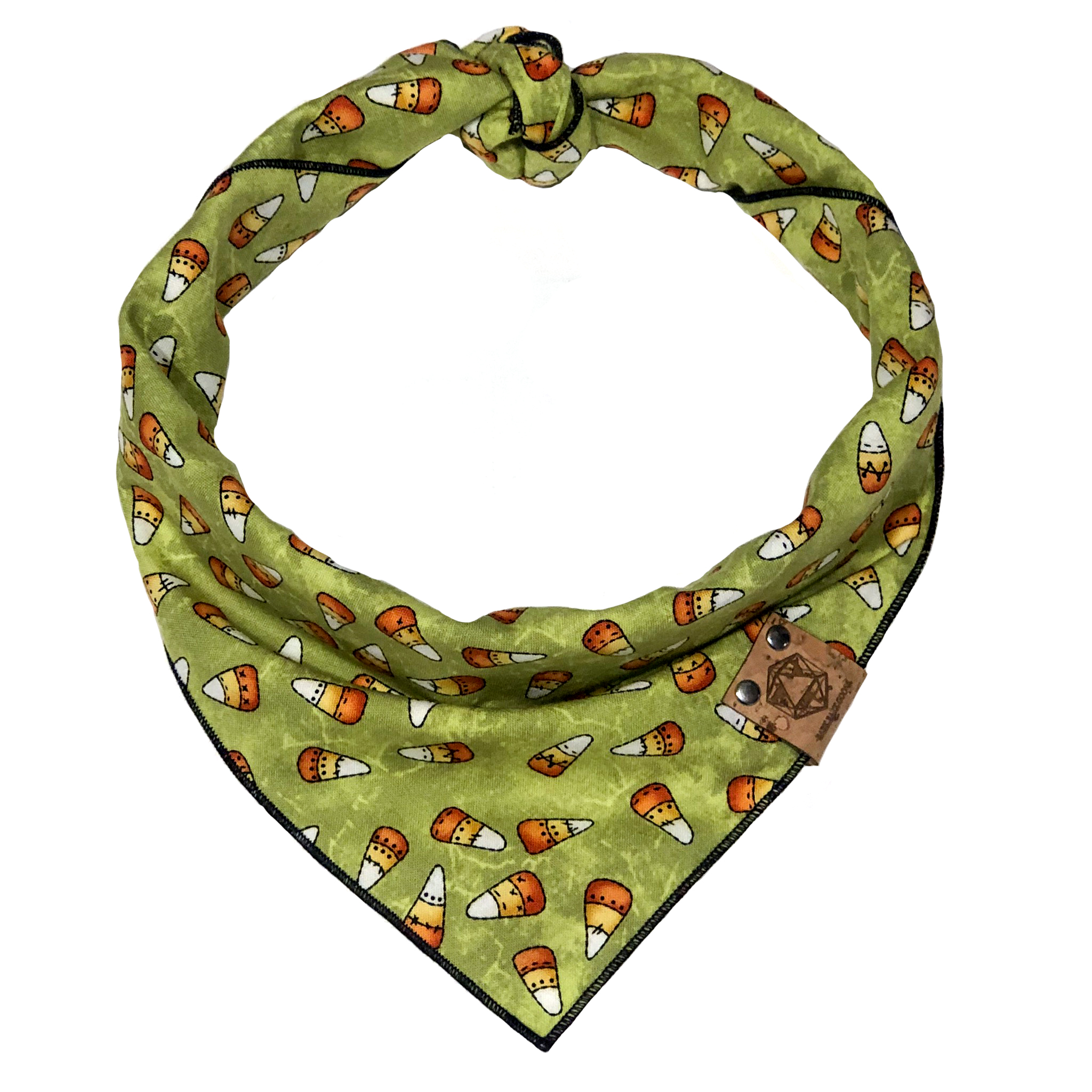 halloween dog bandana green candy corn with frankenstein.jpg