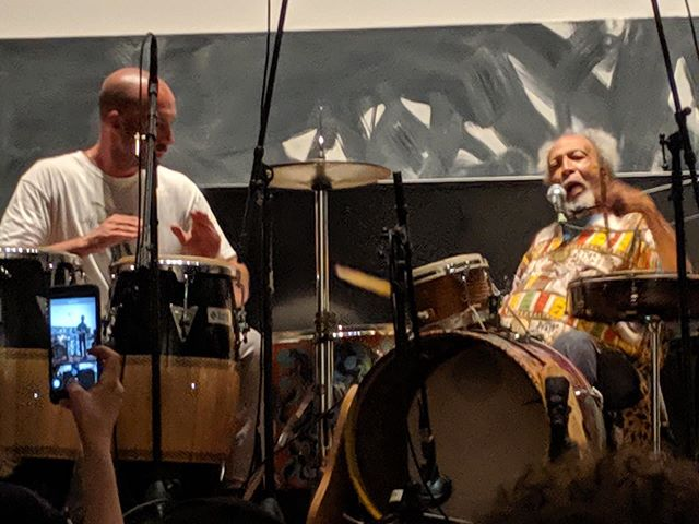 """Professor Graves and @jakemessinameginsky at @gavinbrownsenterprise for """"MILFORD GRAVES: MUSIC MEETS MEDICINE AND SCIENCE"""" presented by @blankforms_ at @gavinbrownsenterprise NYC"""