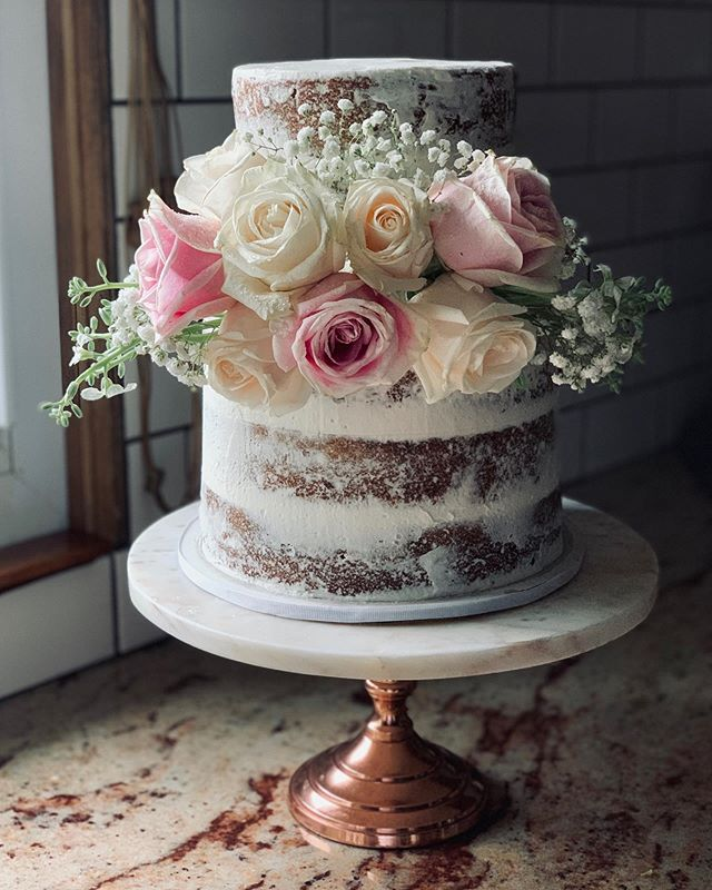 Just another #SemiNakedCake on #instagram There are so many versions of this type of beautiful cake yet they speak their own style. - same with bakers! Be your true self & it can't be imitated! #WednesdayWisdom #cake #instacake #instadaily  #buttercream #WednesdayCakeWisdom #buttercreamdreams #freshcutflowers  #candidconfections #cancon