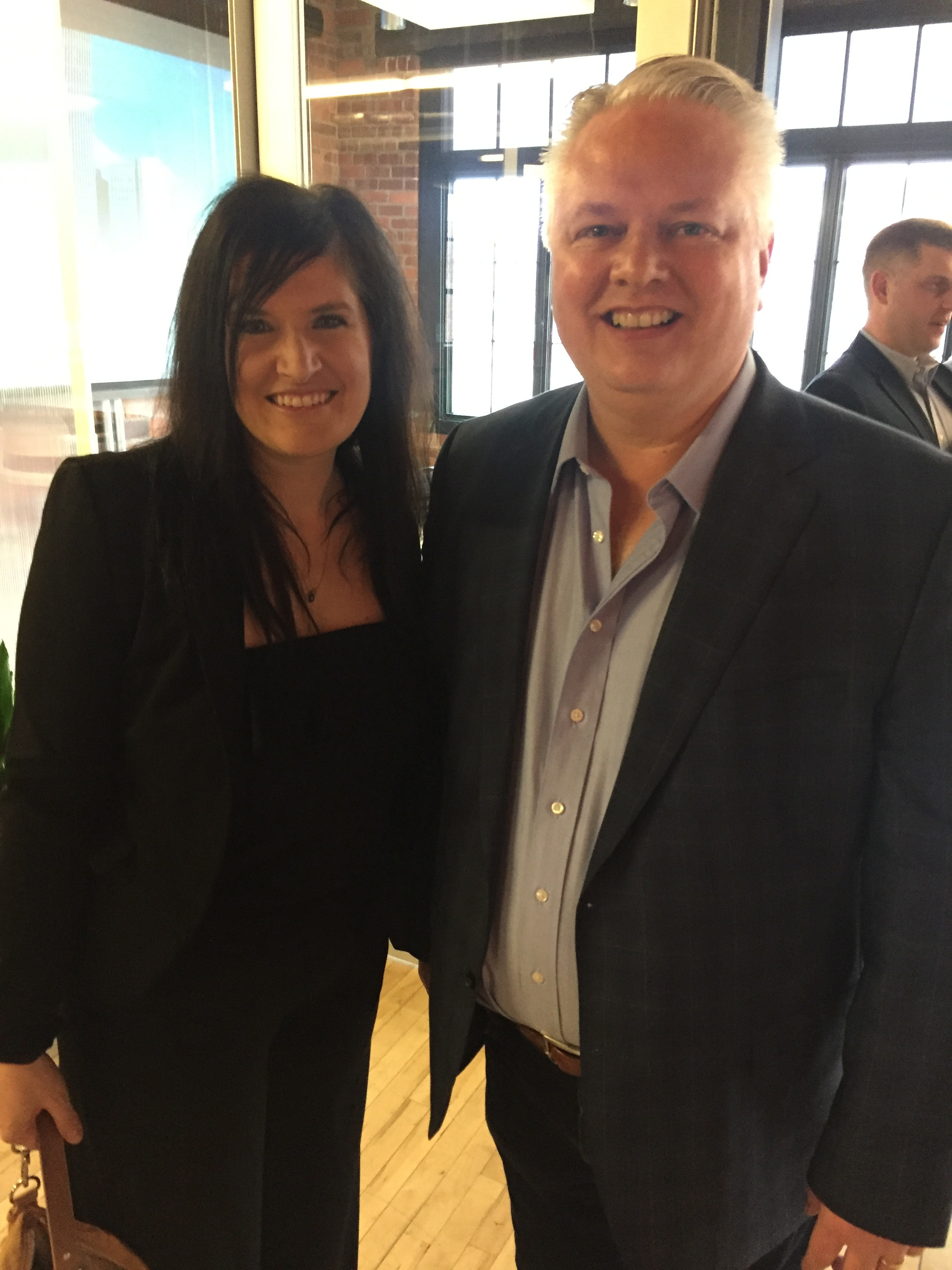 Rural Revival founder Danna Larson with Linc Kroeger of Pillar Technology at The Forge's event celebrating their company's expansion to Jefferson, Iowa
