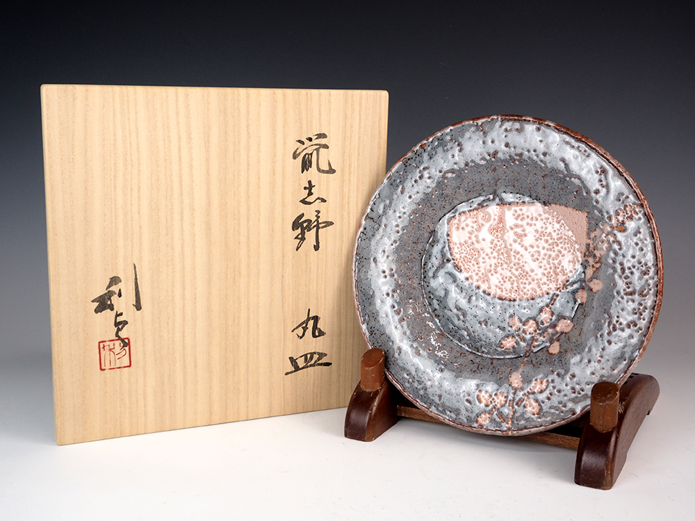 WAKAO Toshisada Gray Shino Round Plate -Half Moon- 6.jpg