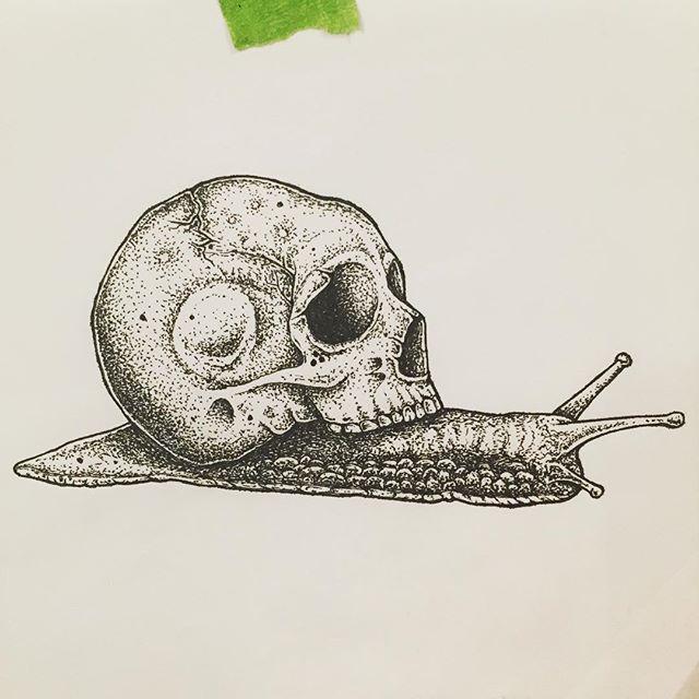 Lil old guy . . #drawing #illustration #penandink #artwork #skull #pointillism #art