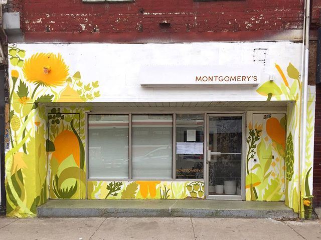 Colour sprouted... now for the hard part! . . #wip #mural #spraypaint #art #toronto #montgomerys #queenstreet #nature #edibleplants #resturant #foodtoronto