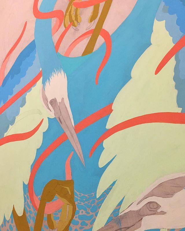 Working my way through this tangled mess . . #painting #artwork #art #torontoart #nature #bird #gouache #wip