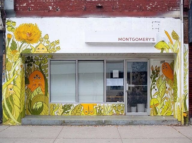 I recently got the opportunity to redo the front of the amazing @montgomerys.restaurant . It started with the building of a custom acrylic light box and turned into an edible forest filled with happy creepers. Even though winter is almost here, this green wall will never die! Thank you Kim and Guy for your wonderful food and wanting to have your restaurant look a little different and weird! . . . #montgomerys #toronto #restaurant #mural #greenwall #edibleplants #creep #torontoart #torontofood #foodtoronto #queenstreet #ossington #nature