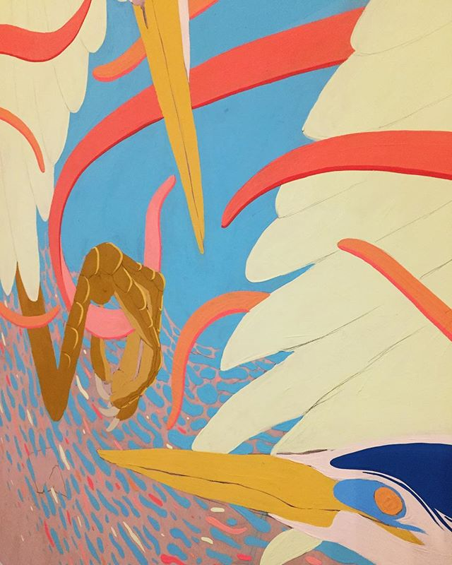 A tangled mess of work in progress . . #art #painting #gouache #birds #illustration #artist #toronto #workinprogress #wip #paint #heron #torontoartist