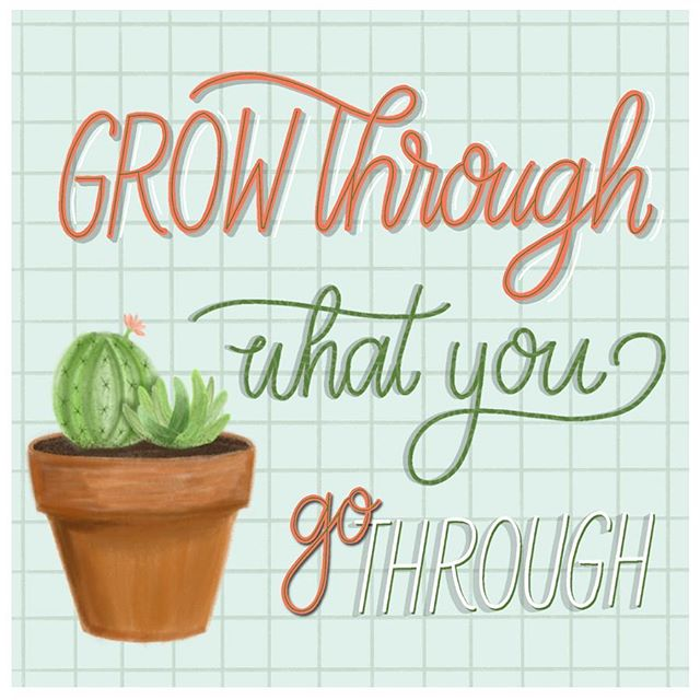"Grow through what you go through🌵 Joined the #friendsofillustration weekly challenge and this weeks theme is ""spring"". Can't wait till the flower Stark blooming🌷 Gotta post my process video of making this little plant, among others! Maybe I'll do that tomorrow🌿 • • • • • #procreateartist #procreatedesign #ipadlettering #letteringcommunity #letteringco #letteringartist #letteringleague #letteringdaily #goodtype #typematters #typegang #womenofillustration #typetopia #strengthinletters #thedailytype #customhandlettering #motivationnation #letteringchallenge #letteringleague #calligrafriends #typism #letterbuilder #drunkonlettering #createdtoday #showusyourtype #typeeverything #handdrawntype #communityovercompetition #typematters @showusyourtype @50wordsonlettering @letteringleague"