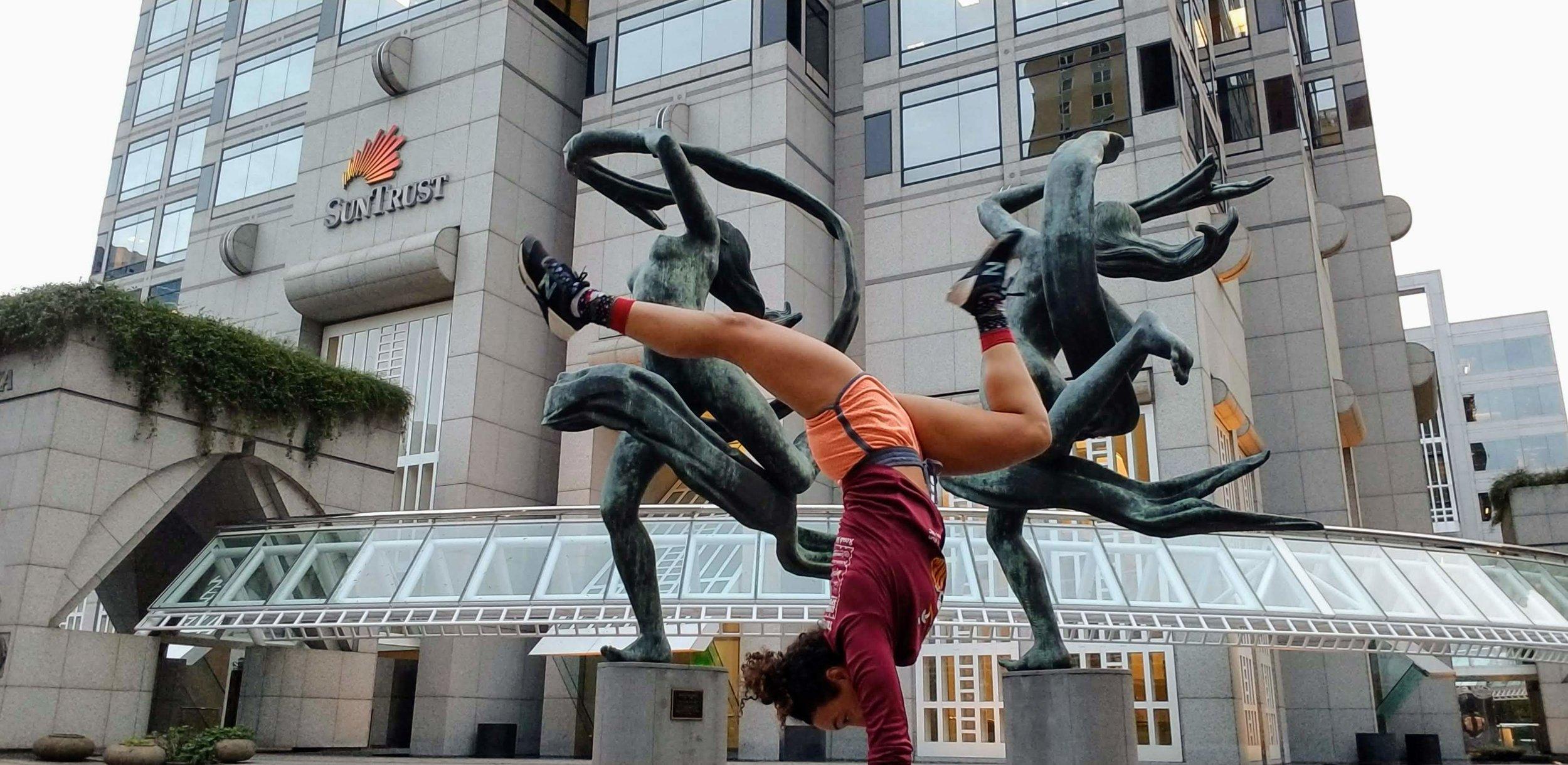 spontaneous handstands during a run in downtown Atlanta, GA