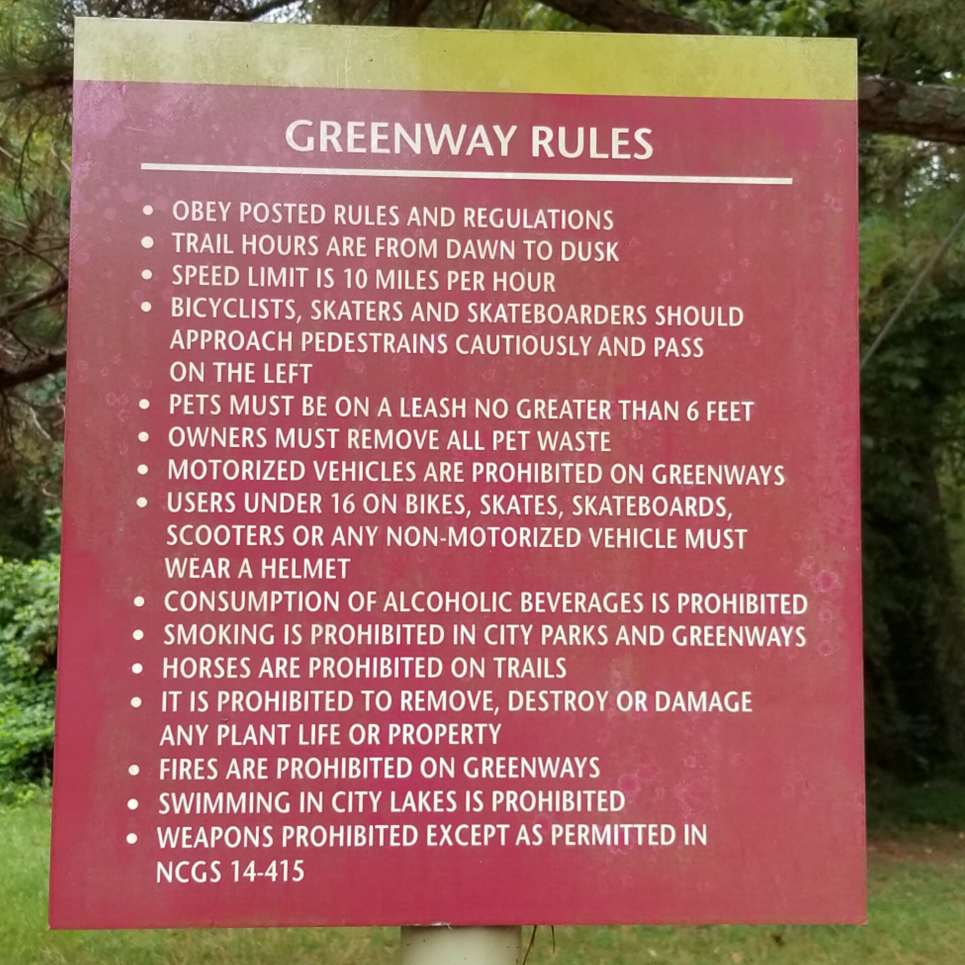 even on the greenway, rules are rules!
