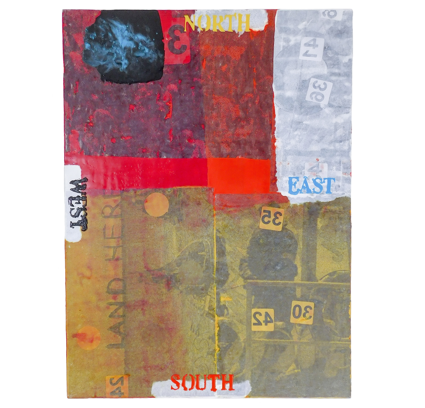 Refugeez! - 4 - 26 June 2016 | Hurstville Museum & GalleryRandal Arvilla's North, East, South, West (encaustic and oil painting on board, 76 x 56cm) was included in the Refugeez! exhibition celebrating Australia's National Refugee Week (19-25 June 2016). The exhibition was organized by Hurstville City Council and Advance Diversity Services and took place at the Dragon's Lair Gallery in Hurstville Museum & Gallery.
