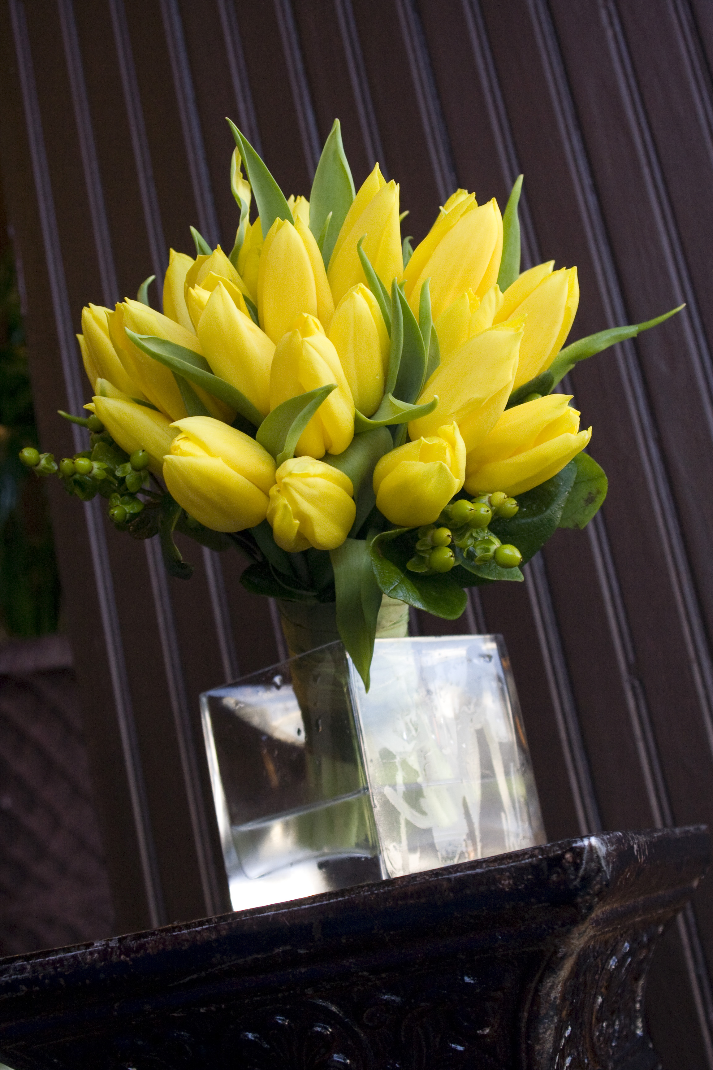 Yellow Tulips and Hypericum Berry Bouquet