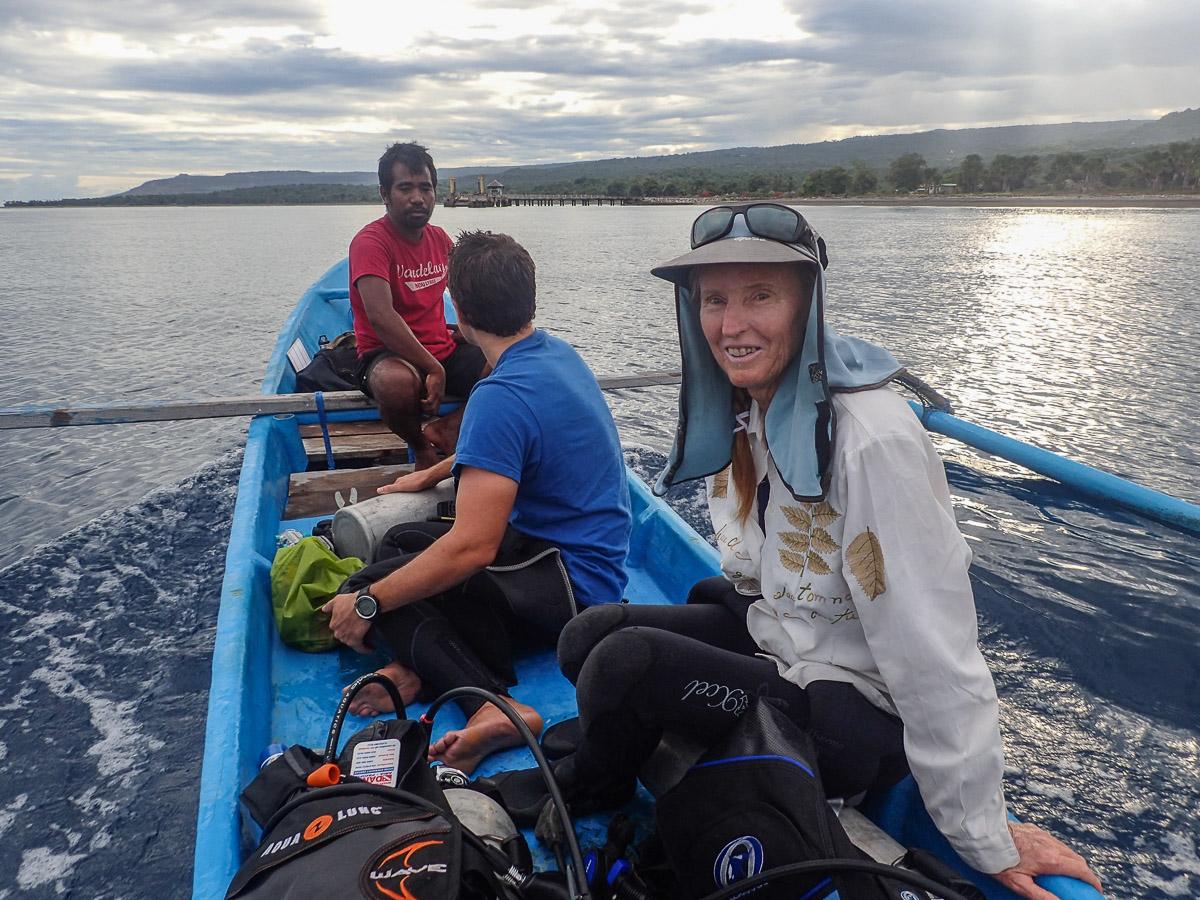 Above: Diving for fish biomass surveys from an outrigger canoe in Timor-Leste.