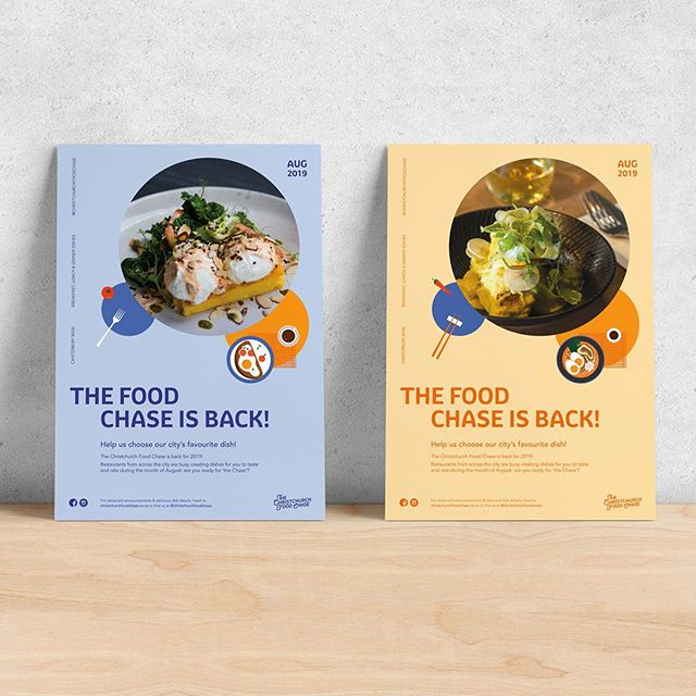 Posters designed for the @christchurchfoodchase  This year I got to add in some glourious food snaps by @charlierosecreative 🤤 It's always a treat working with this team!