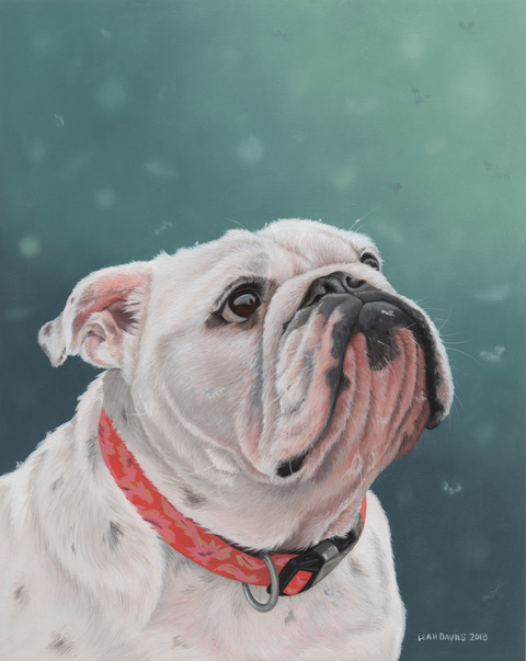 """Izzy in the Snow"", oil on wood panel. Image courtesy of artist."